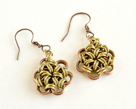 Chainmaille Earrings Copper Brass Japanese 12 in 2 Mixed Metal Antiqued Copper Brass Chain Mail Maille Earrings
