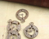 4 Pcs Dapped Clock Charm - Vintaj Natural Brass Exclusive (set with rhinestones or crystals)