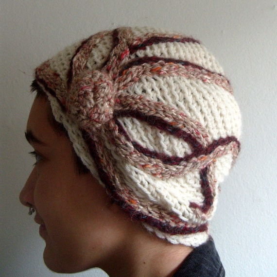 Crocheted Octopus Hat - Off White, Maroon, and Tan/red