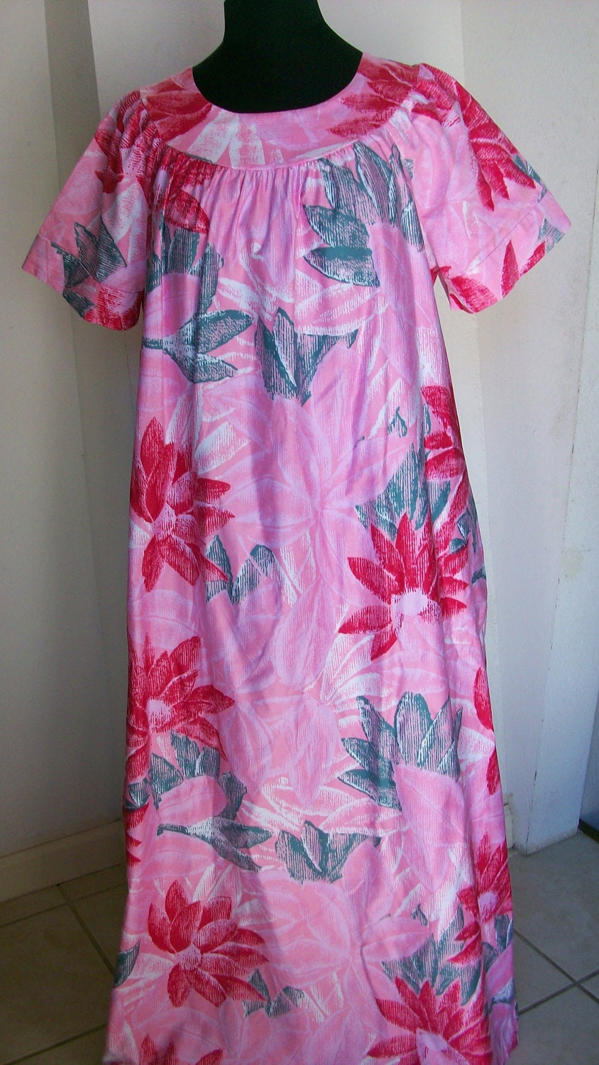 Pink floral hawaiian mumu long dress by sears size large for Sears dress shirts sale