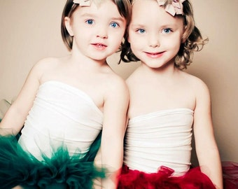 Christmas Cheer Cranberry or Hunter Green Christmas Tutu Set with Matching Tan Rhinestone Headband Photography Prop Newborn-4T