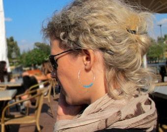 Blue Beaded Hoop Earrings - Fashion Sterling Silver Hoops - 1.5 inch Rounded Earrings - Gift for Her / Everyday Earrings / Trendy Jewelry
