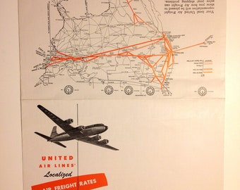 Vintage United Airlines Timetable Airplane Schedule 1940's