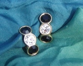 10 D SALE Swarovski Signed with Swan Black and White Crystal Earrings