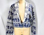 vintage 1980s southwestern print jacket / size large