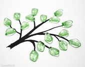Pale Light Green Czech Glass Leaf Beads 15mm (16) Pressed Leaves Tree Branch Spring last
