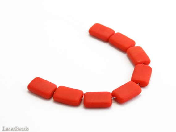 Orange pillow beads Czech rectangle beads 15mm (10) Opaque flat frosted last