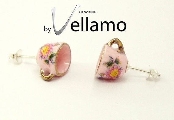 Sterling silver stud earrings with small pink teacups, gold rim, miniature porcelain, fashion stud earrings