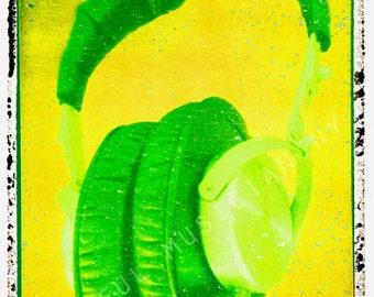 guitar print green headphones dj art print 5 x 7, gift for guy, gift for boyfriend
