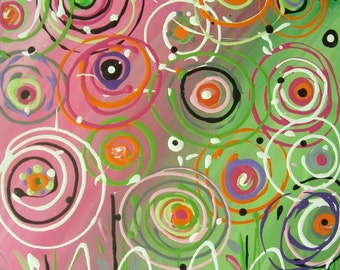 "Abstract Nursery Art Circle Painting Pink Lime Painting Floral Circles Canvas 12"" X 12"""