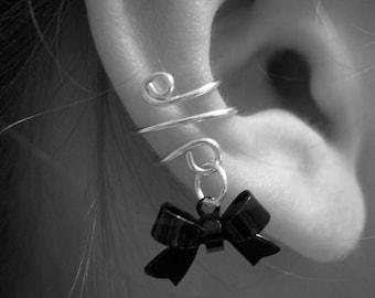 Ear Cuff, Dainty and Feminine Silver Cuff with Gun Metal Black Bow Charm, Black Tie Event