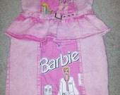 Pink denim Barbie strapless cocktail dress - UK size 10 - 80's kawaii kitsch stonewashed