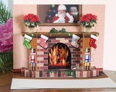 CIJ discount Pop up Christmas Fireplace card with popup poinsettias - CardNotions