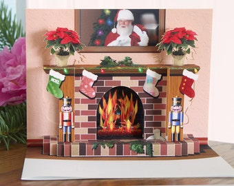 Pop up Christmas Fireplace card with popup poinsettias