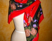 Old World Boho Oversized  Floral Fall Wool Scarf