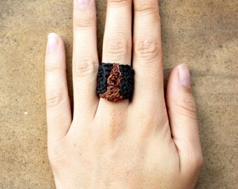 NOMAD FAITH RING -  Crocheted Copper Wire and String
