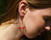 Copper Wire Wrapped Chandelier Dangle Earrings with Genuine Red Coral Beads