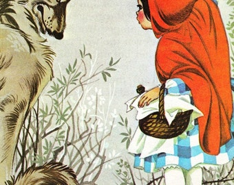 Little Red Riding Hood - Vintage Illustration Storybook Print - Deans A Book of Fairy Tales - Paper Ephemera