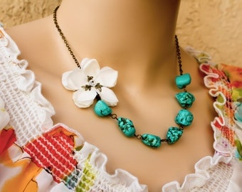 turquoise necklace, bridesmaid necklace, bridal jewelry, flower necklace, cherry blossom necklace, wedding accessories