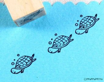 Turtle swim Rubber Stamp