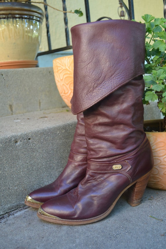 Vintage 70s Dingo Boots Knee High Cuffed Oxblood Burgundy 8.5 M Stacked Wooden Heels Leather