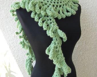 Crochet Scarf PATTERN-Chunky Fringe Scarf Lariat-Unique Design-Easy Crochet Tutorial-Instant Download PDF Pattern No.48 by Lyubava Crochet