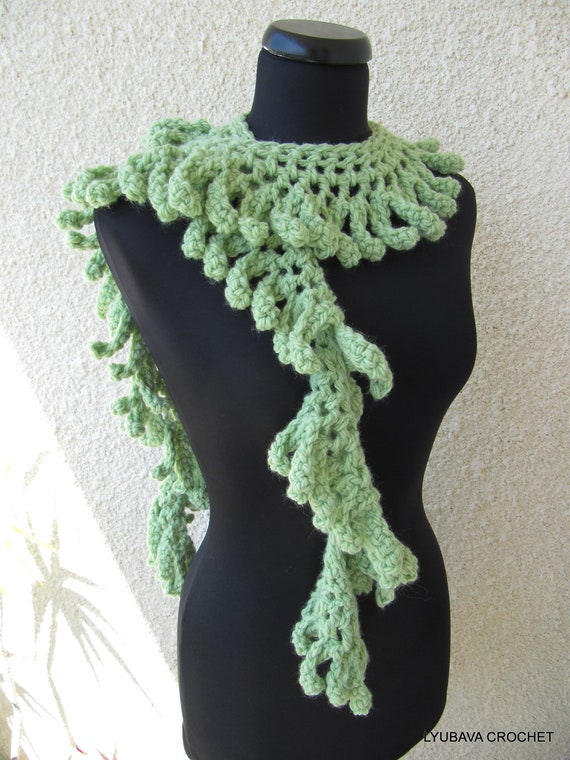 Unique Beginner Crochet Patterns : Crochet Scarf PATTERN Chunky Fringe Scarf Lariat Unique