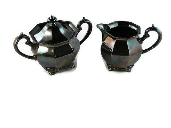 Antique E.G. Webster and Sons Quadruple Silver Plate Sugar & Creamer