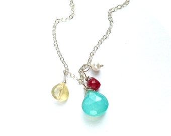 Chalcedony Gemstone Sterling Silver Small Spring Cluster Colorful Necklace