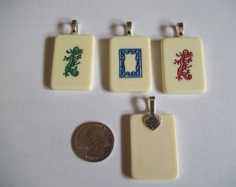 Choice of Mahjong Dragon handcrafted Game Piece Necklace on voile or leather necklace with gift bag