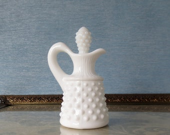 Fenton Hobnail Cruet / Milk Glass Cruet / Dressing Decanter