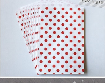 Red - Dot - Large Favor Bags - 10