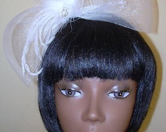 handmade  Bridal Bow ,Headband, Ostrich feather headband, hello kitty headband