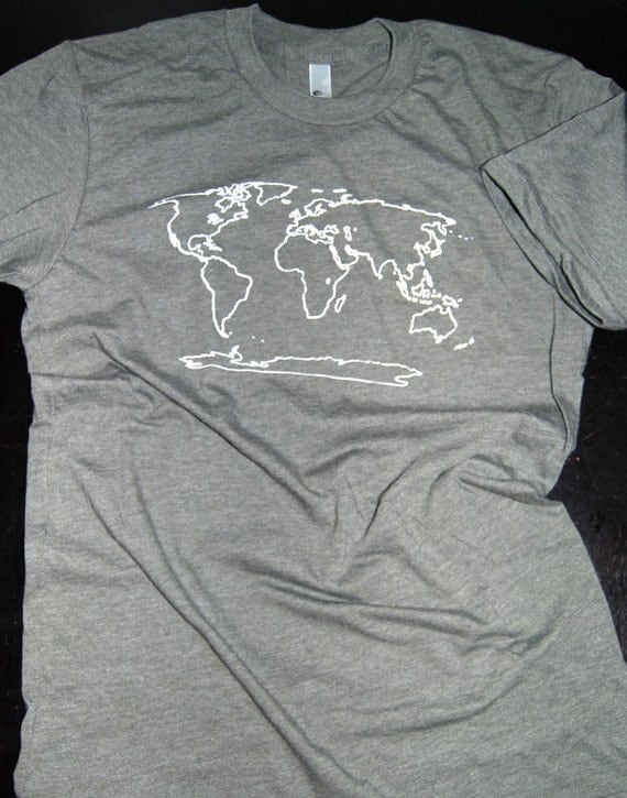 World Map T Shirt by bigwaterapparel on Etsy