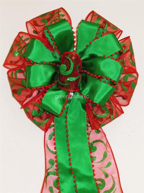 Red Kelly Green Christmas Tree Topper Bow Red Green Christmas Wreath bow Christmas swag Door Bow Red Kelly Christmas Tree Bow Staircase Bow