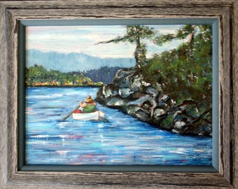 Row Boat in Secret Cove - Framed Original Acrylic Painting