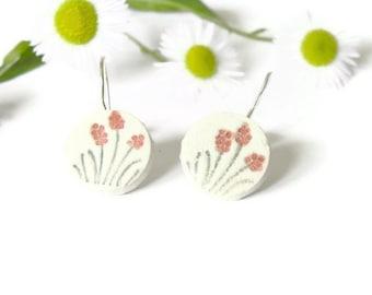 Ceramic Flower  Earrings Round Pottery  Romantic Jewelry Eco Friendly