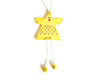 Yellow Chicken Ceramic Ornament Animal Pottery Red Dots Eco Friendly