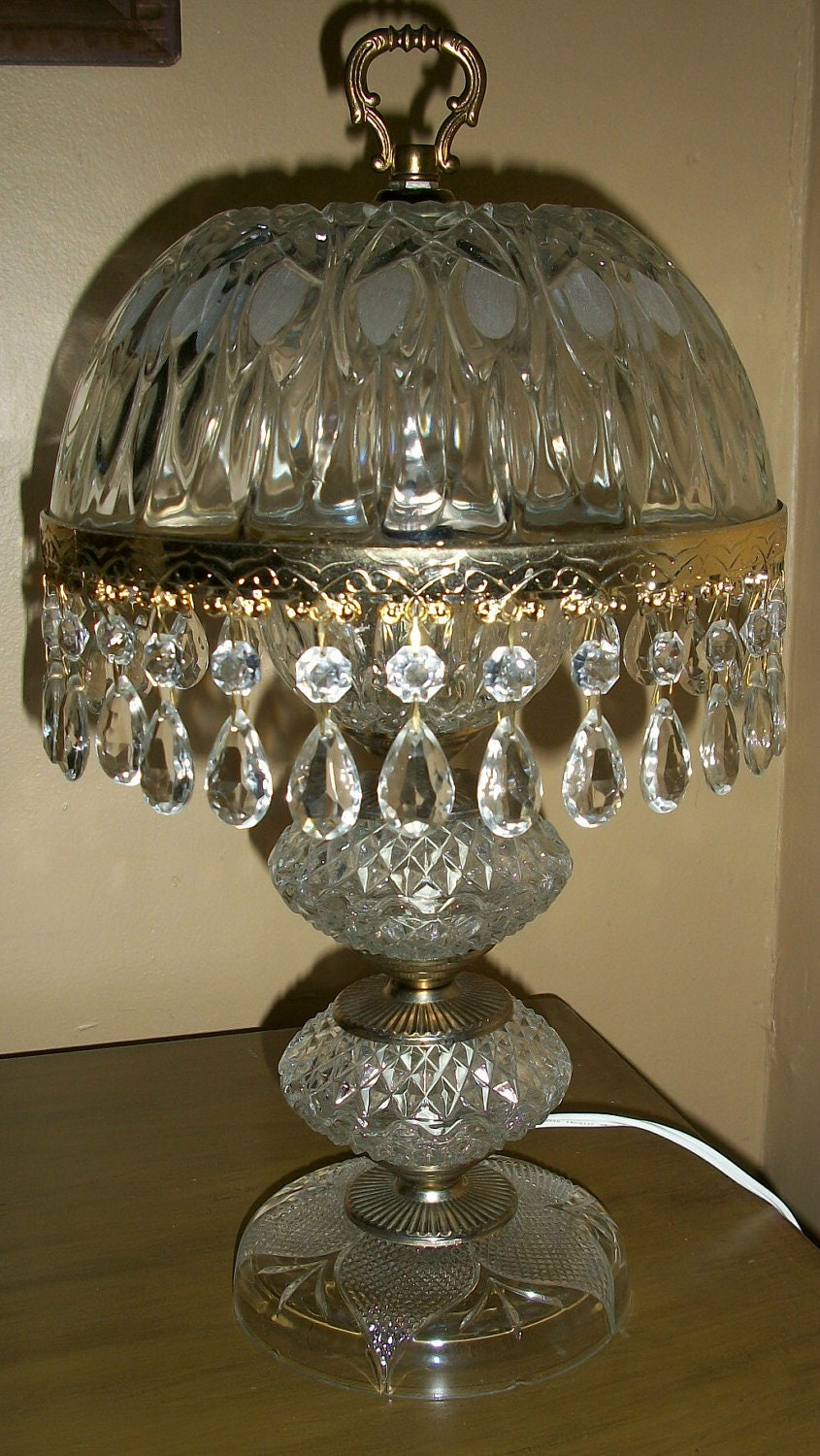 Vintage Table Lamp Diamond Cut Clear Glass Brass And Crystal