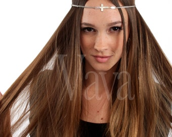Silver Cross headpiece head chain  style stretches to fit head :)