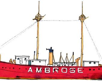 USCG Lightship Ambrose (LV 87 / WAL 512): ship print / nautical illustration