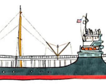 oil tanker ss carlsbad: ship print / nautical illustration