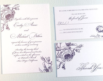 Printable Botanical Wedding Invitation - Rose Wedding