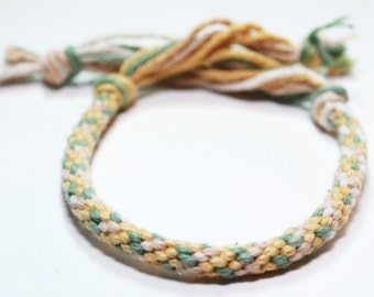 Childrens Bracelet Kumihimo Braid Baby Toddler Cotton Fibre Yellow & Green Kid Jewellery