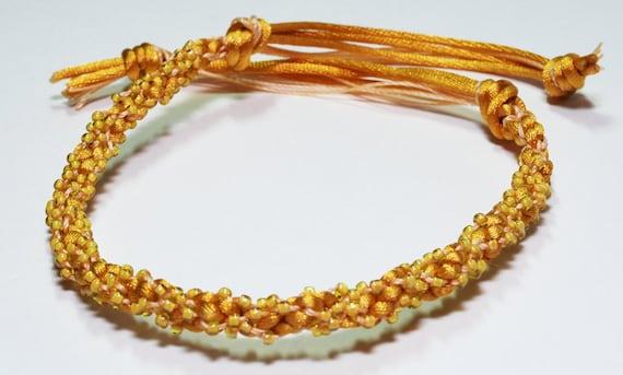 Beaded Kumihimo Bracelet Golden Beads Sunflower Yellow Summer Jewelry