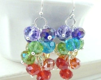 Rainbow cluster earrings crystal dangle bright multi colored silver drops