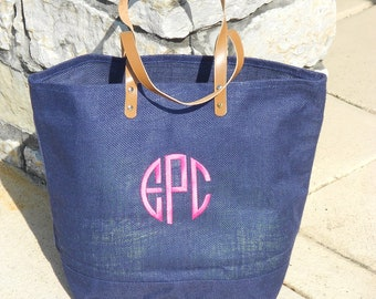MONOGRAMMED Jute Bags in Various Colors (Font Shown: Natural Circle in Pink)