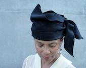 Black Wool Felt Hat - Women's New Draped Hat-  Ladies Cloche-1910s-1920s-Flapper- Asymmetrical Sculpted/Draped,OOAK-CUSTOM ONLY