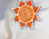 Sugar Skull Dahlia with Swirl Center Pendant / Necklace - Stainless Steel with Bright Orange and Sunburst Tinted Concrete