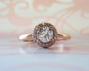 Diamond Engagement Ring Double Diamond Halo 14K Rose Gold